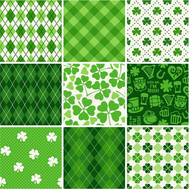 Los fondos inconsútiles fijaron - el día de St Patrick del papel del libro de recuerdos ilustración del vector