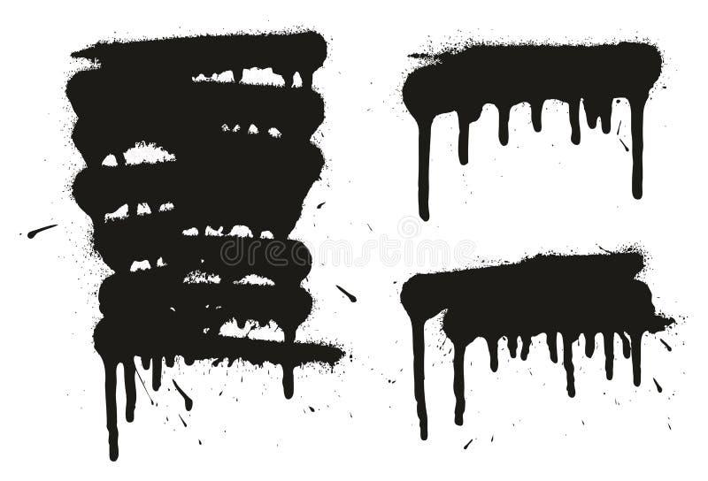 Los fondos, las líneas y los goteos del vector del extracto de la pintura de espray fijaron 01 ilustración del vector