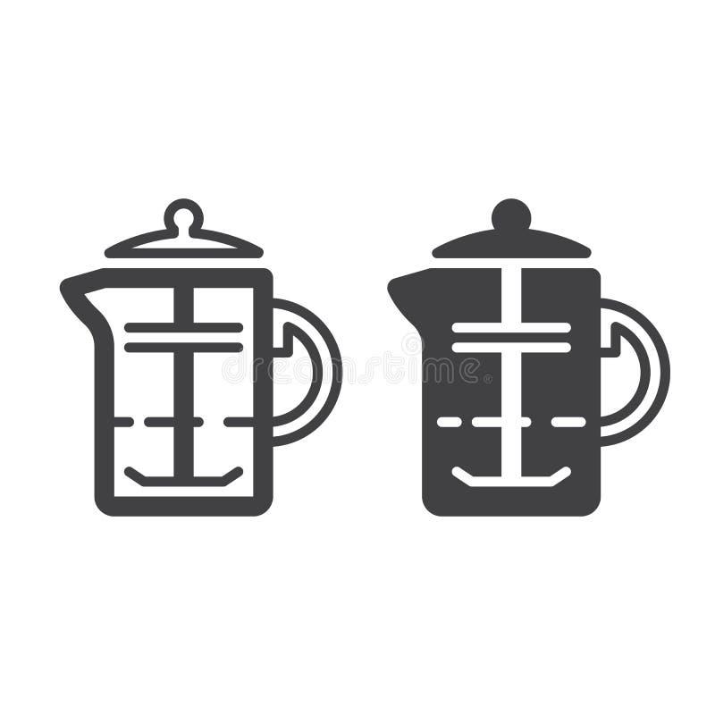 Los franceses presionan, línea del émbolo del café e icono sólido, esquema y pictograma llenado de la muestra del vector, linear  ilustración del vector