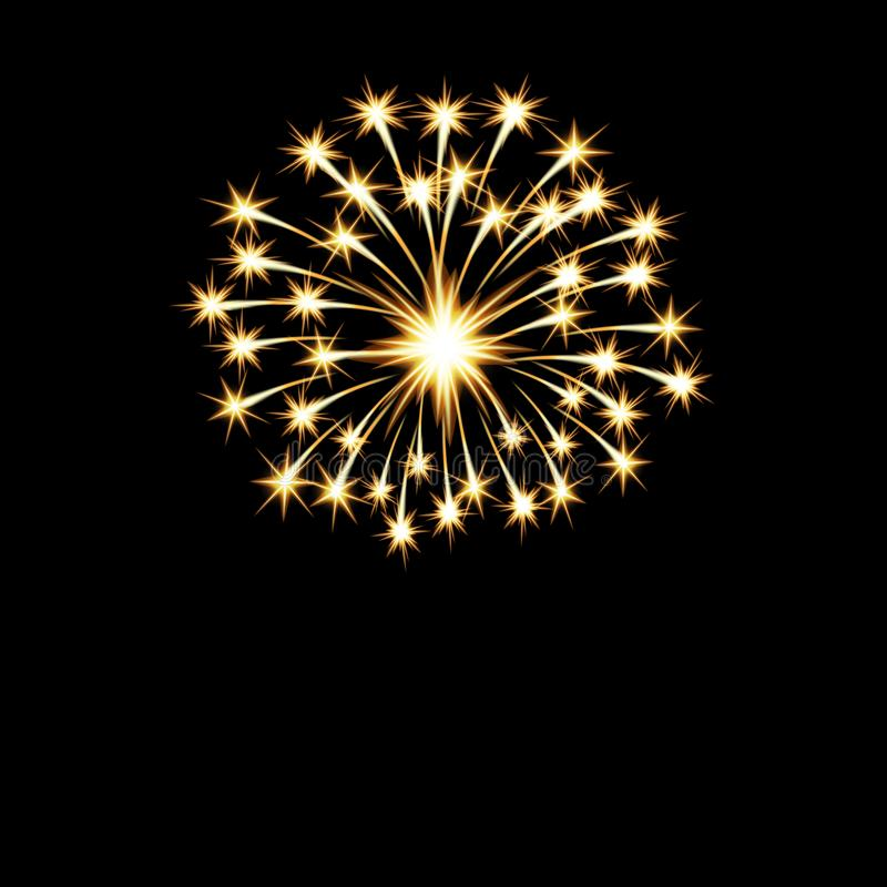 Los fuegos artificiales brillantes de oro festivos saludan, destellan en un fondo negro Ilustración aislada libre illustration