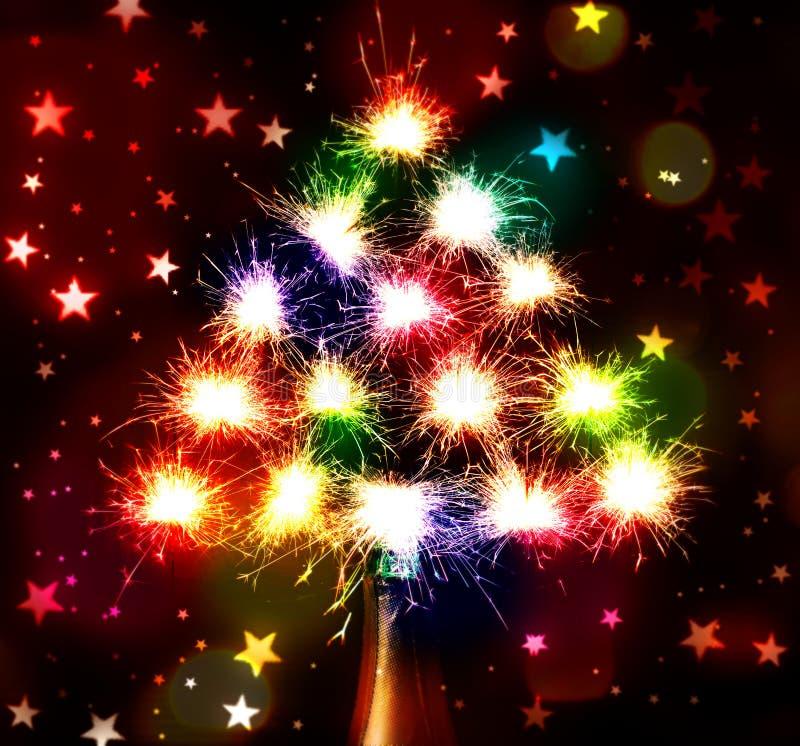 Los fuegos artificiales chispean Bokeh blured en fondo oscuro de las estrellas del chmpagne de la botella ilustración del vector