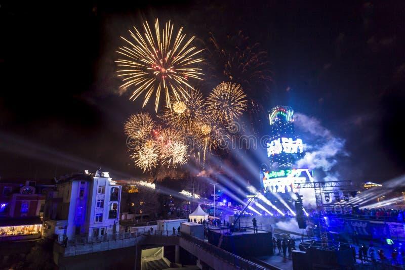 Los fuegos artificiales muestran para el Plovdiv 2019 - capital europea de la cultura fotografía de archivo libre de regalías
