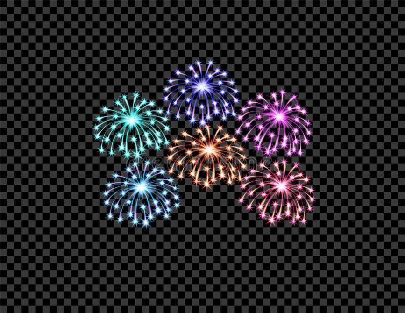Los fuegos artificiales multicolores festivos saludan, los flashes en un fondo a cuadros transparente Ilustración libre illustration