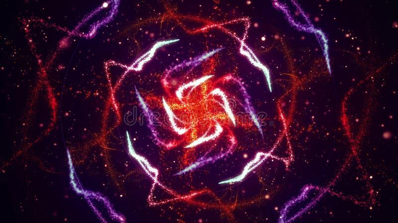 Los fuegos artificiales vibrantes encienden flujo de los modelos que brilla intensamente en ondas y modelos del círculo stock de ilustración