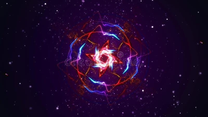 Los fuegos artificiales vibrantes encienden flujo de los modelos que brilla intensamente en ondas y modelos del círculo libre illustration