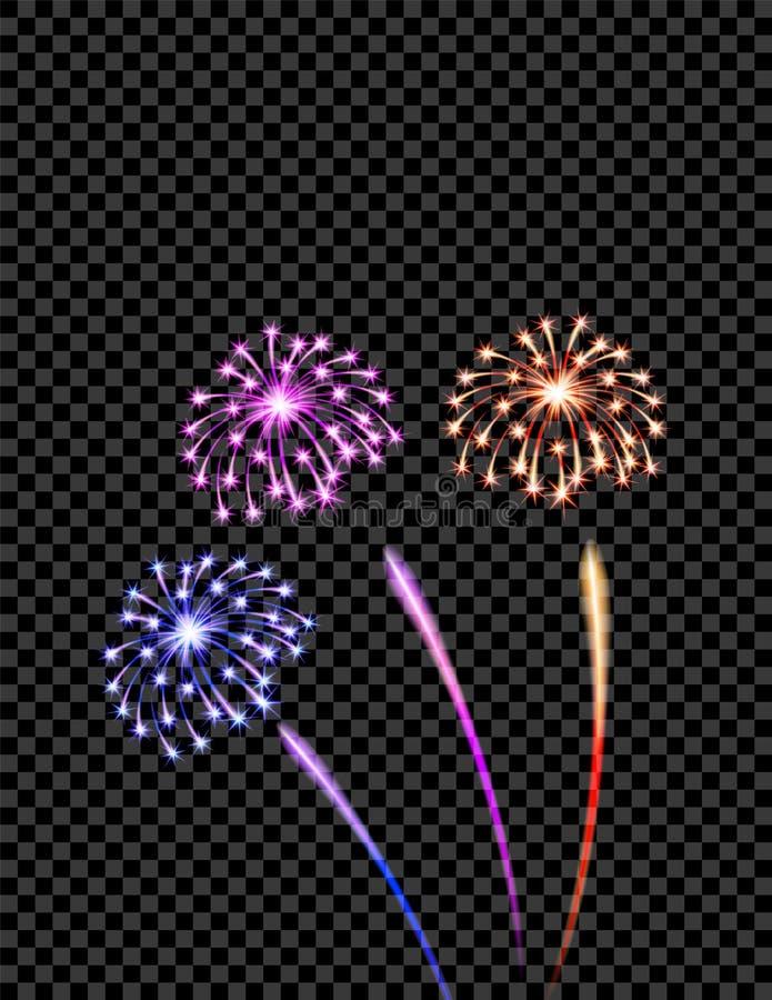 Los fuegos artificiales violetas, amarillos y azules celebradores saludan, los flashes en un fondo a cuadros transparente libre illustration