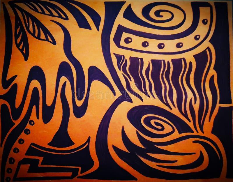 Los fuegos tribales de la isla inspiraron el dibujo abstracto imagen de archivo libre de regalías