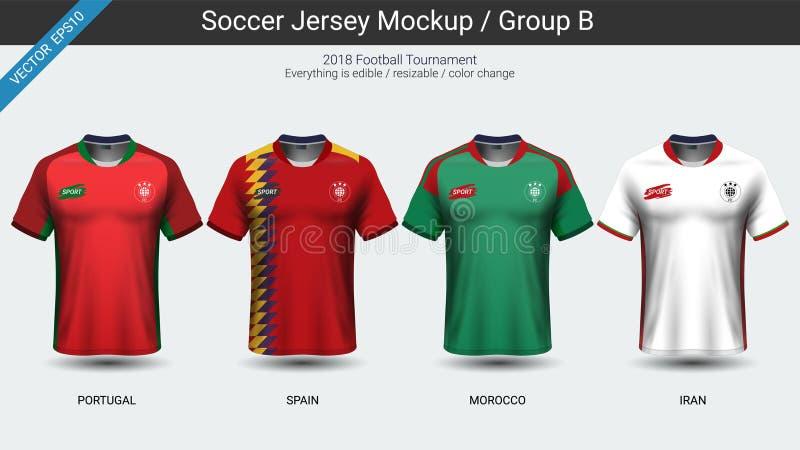 Los futbolistas uniforman, el grupo B del jersey de fútbol del equipo nacional 2018 libre illustration