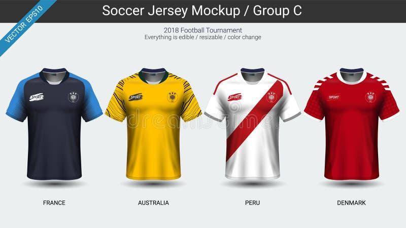 Los futbolistas uniforman, el grupo C del jersey de fútbol del equipo nacional 2018 libre illustration