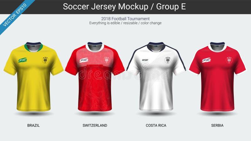 Los futbolistas uniforman, el grupo E del jersey de fútbol del equipo nacional 2018 stock de ilustración