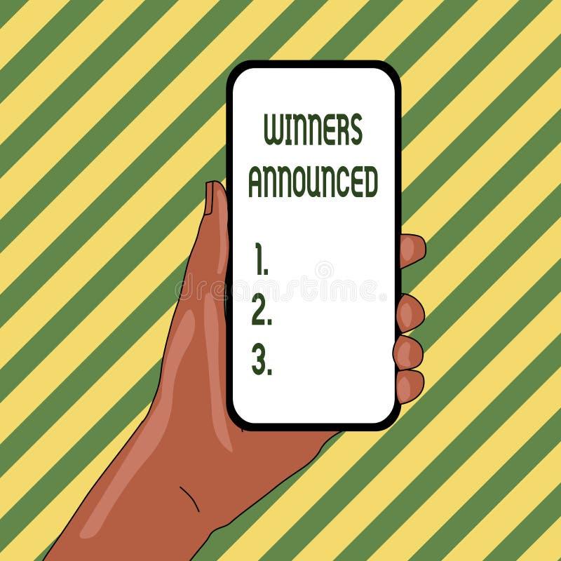 Los ganadores del texto de la escritura anunciaron Concepto que significa la anunciación de la cual ganó la competencia o cualqui stock de ilustración