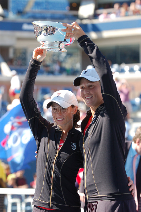 Los ganadores los E.E.U.U. de los dobles de las mujeres abren 2008 (2) fotografía de archivo libre de regalías