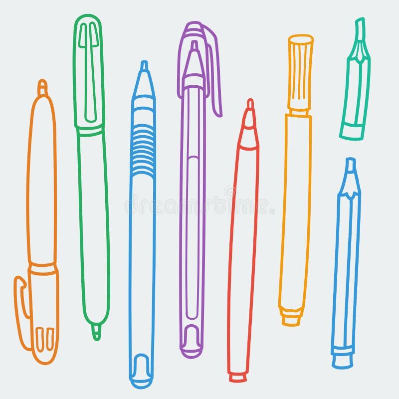 Los garabatos incompletos fijaron de la escritura y los utensilios del dibujo, las herramientas, las fuentes para la escuela y of ilustración del vector