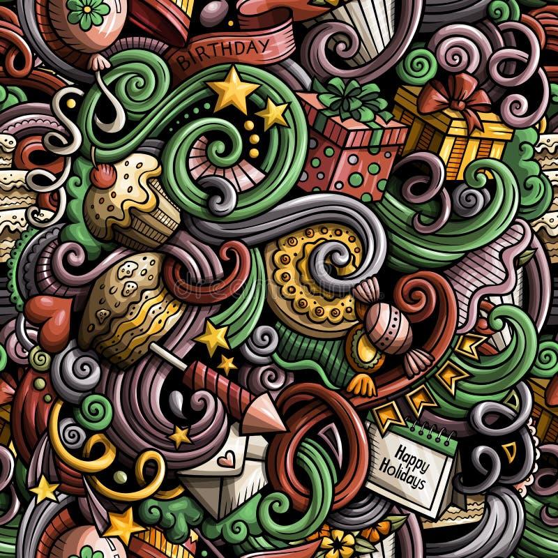 Los garabatos lindos de la historieta dan el modelo inconsútil de los días de fiesta exhaustos stock de ilustración