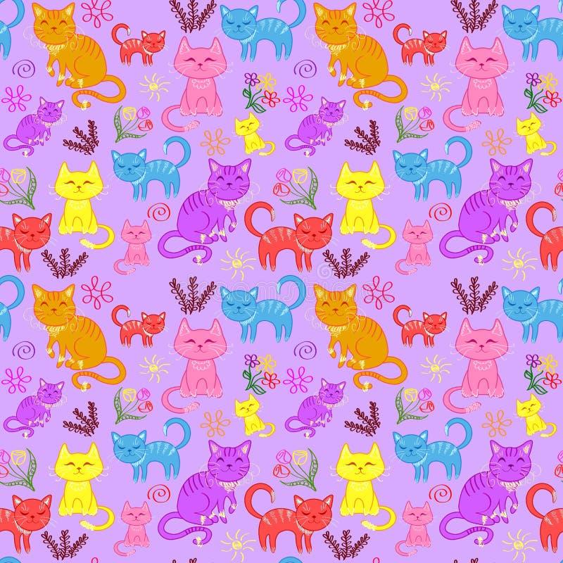 los gatitos, gatos fijaron, modelo inconsútil stock de ilustración
