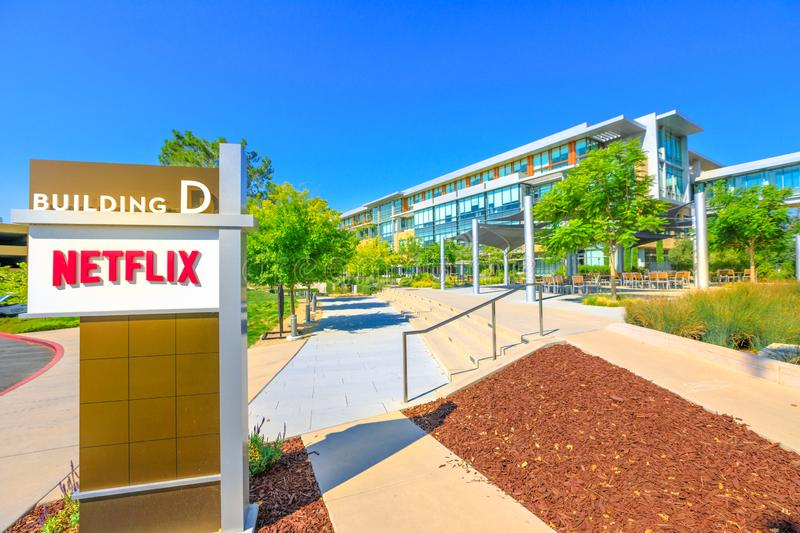 Netflix Los Gatos California. Los Gatos, CA, United States - August 12, 2018: Netflix Headquarters in Silicon Valley. Netflix entertainment service provider for royalty free stock image