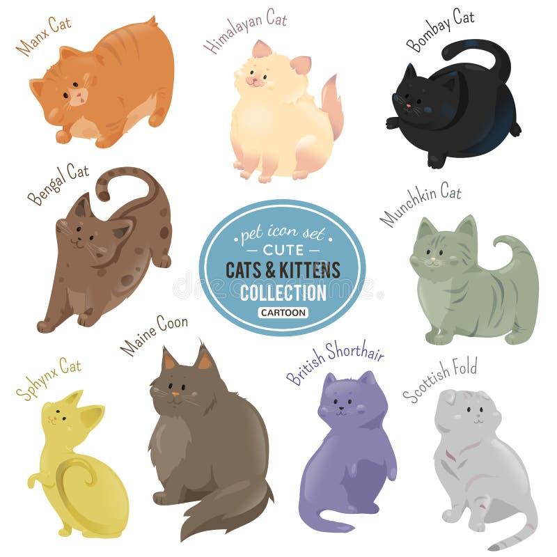 Los gatos lindos y los gatitos que representan diversa piel colorean y las razas ilustración del vector