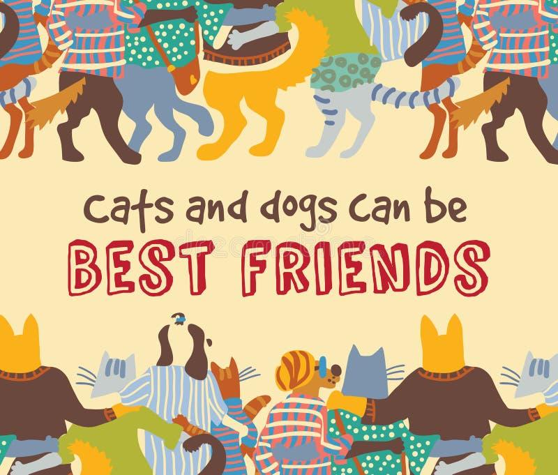 Los gatos y los amigos de los animales domésticos de los perros abrazan la muestra de la tarjeta de la frontera del marco stock de ilustración