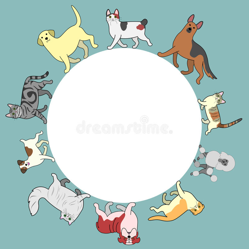 Los gatos y los perros circundan el marco con el espacio de la copia libre illustration