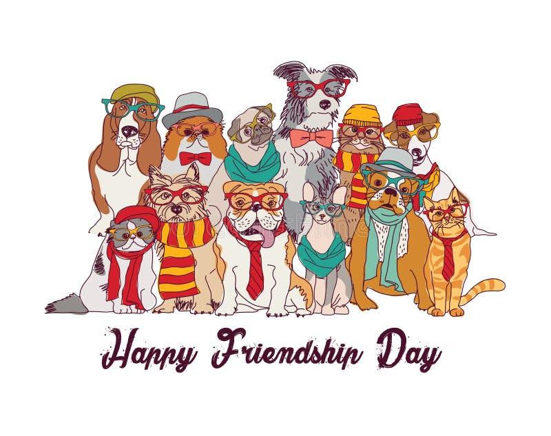 Los gatos y los perros del día de la amistad aíslan blanco del grupo libre illustration
