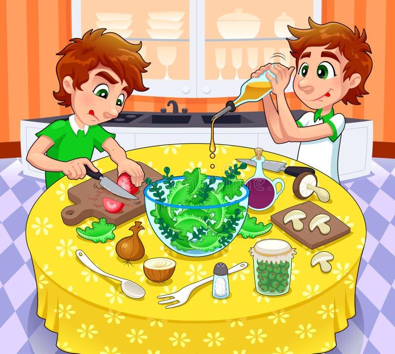 Los gemelos están preparando una ensalada verde. stock de ilustración