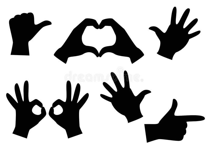 Los gestos de mano con guantes de las manos fijaron de gestos de mano, ilustración del vector