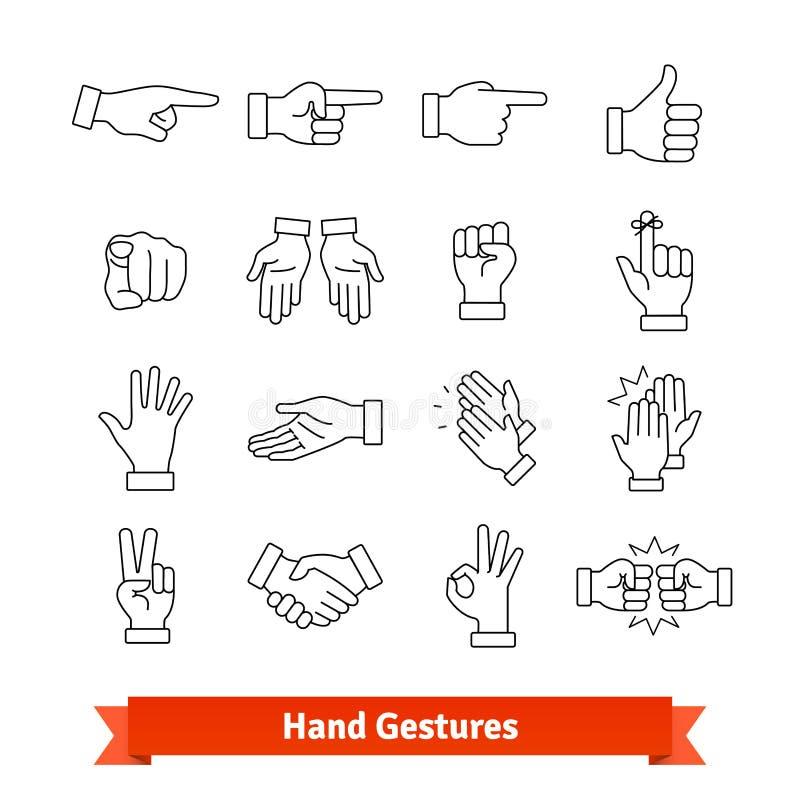 Los gestos de mano enrarecen la línea iconos del arte fijados libre illustration