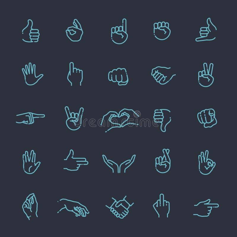 Los gestos de mano enrarecen la línea sistema del icono stock de ilustración