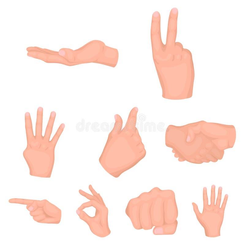 Los gestos de mano fijaron iconos en estilo de la historieta La colección grande de gestos de mano vector el ejemplo común del sí stock de ilustración