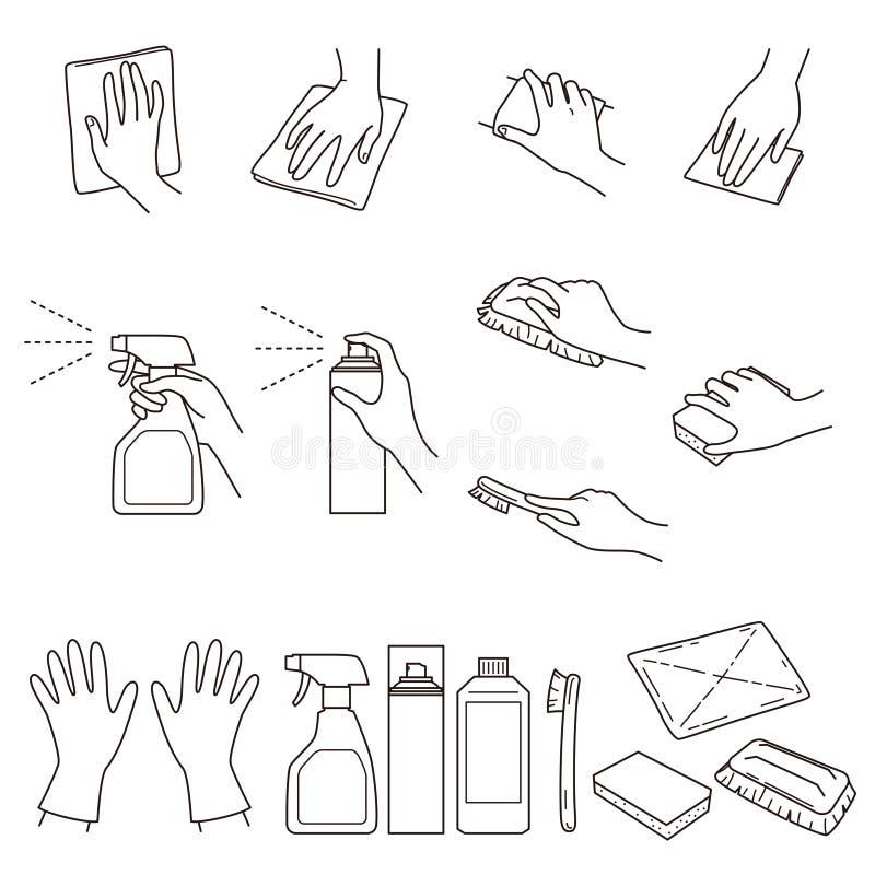 Los gestos de mano 04, limpian y las fuentes de limpieza ilustración del vector