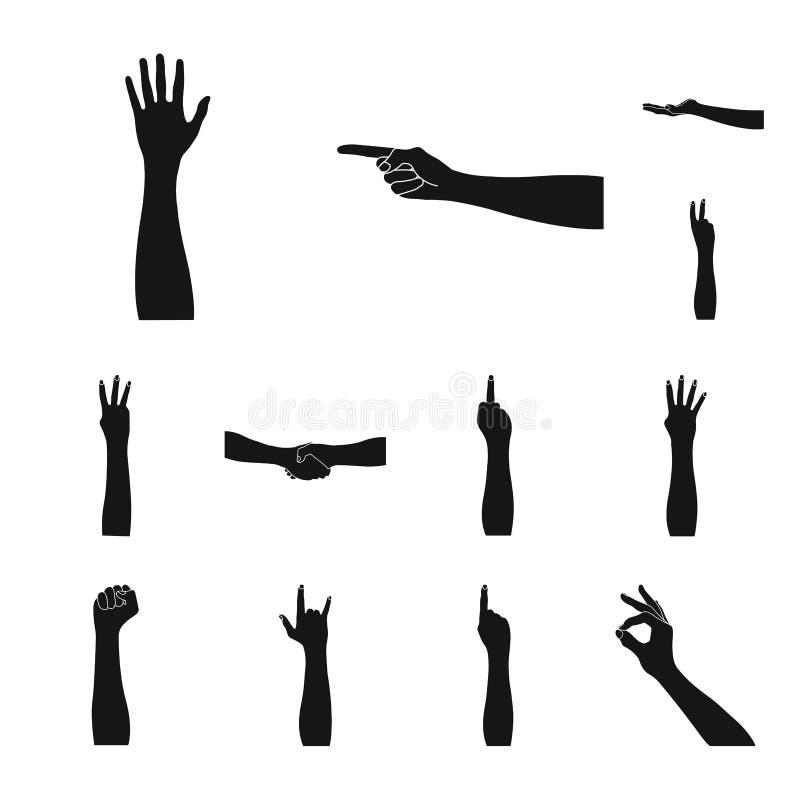 Los gestos y su significado ennegrecen iconos en la colección del sistema para el diseño Parte emocional de la acción del símbolo libre illustration