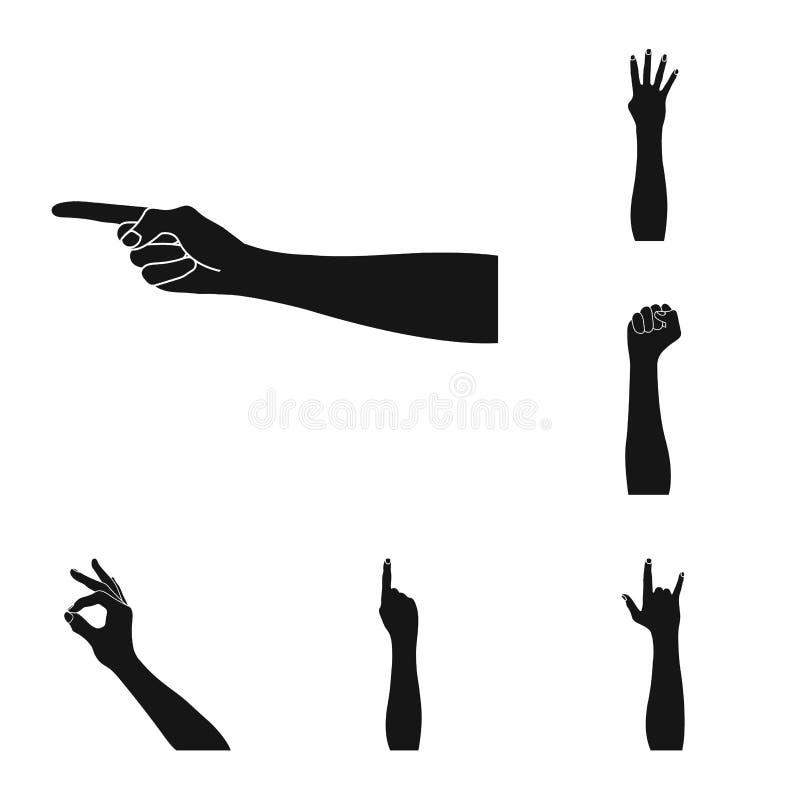 Los gestos y su significado ennegrecen iconos en la colección del sistema para el diseño Parte emocional de la acción del símbolo stock de ilustración