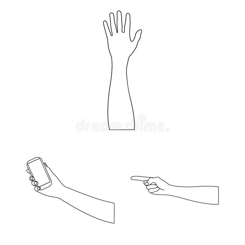 Los gestos y su significado resumen iconos en la colección del sistema para el diseño Parte emocional del símbolo del vector de l ilustración del vector