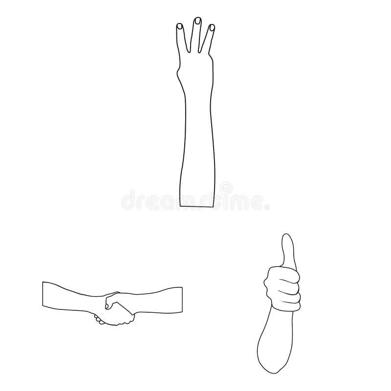 Los gestos y su significado resumen iconos en la colección del sistema para el diseño Parte emocional del símbolo del vector de l libre illustration