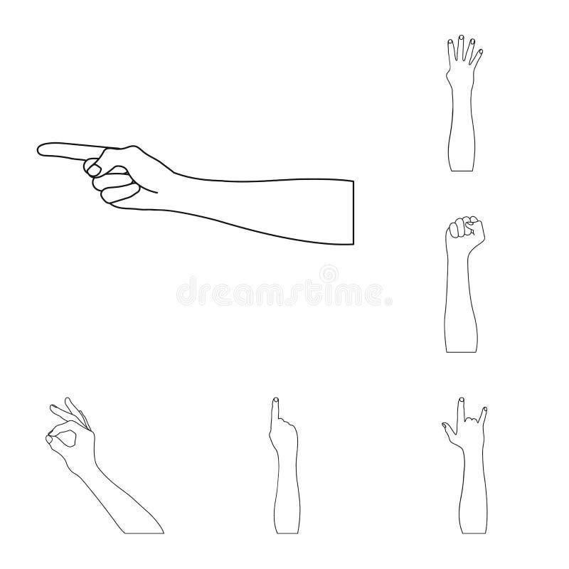 Los gestos y su significado resumen iconos en la colección del sistema para el diseño Parte emocional del símbolo del vector de l stock de ilustración