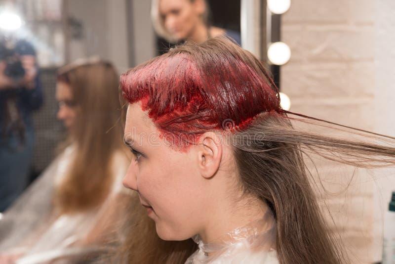 Los girl's mitad-colorearon la cabeza durante coloración del cabello se reflejan en el espejo en el salón de los hairdresser' imágenes de archivo libres de regalías
