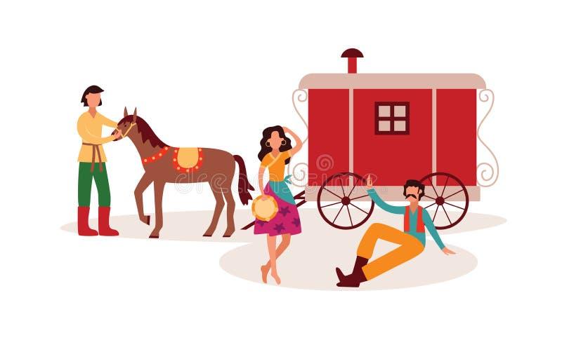 Los gitanos o el ejemplo plano del vector de los caracteres tradicionales Romani de la gente aislaron libre illustration