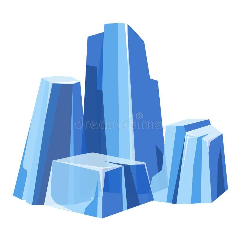 Los glaces transparentes masivos fríos con el tinte azul aislaron el ejemplo ilustración del vector