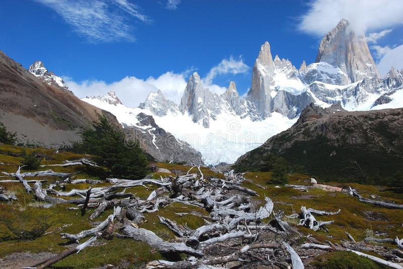 Los Glaciares National Park, View of Mount Fitz Roy, southern Patagonia, Argentina. Los Glaciares National Park, View of Mount Fitz Roy, glacier, clouds and dead stock photography