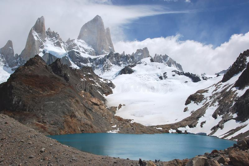 Los Glaciares National Park, View of Mount Fitz Roy, southern Patagonia, Argentina. Los Glaciares National Park, View of Mount Fitz Roy, glacier, lake, clouds stock photography