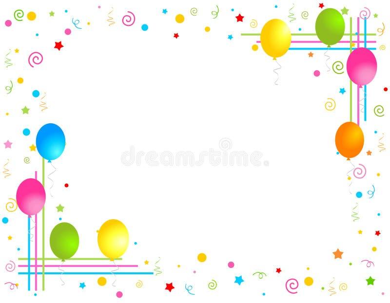 Los globos coloridos confinan/marco del partido stock de ilustración