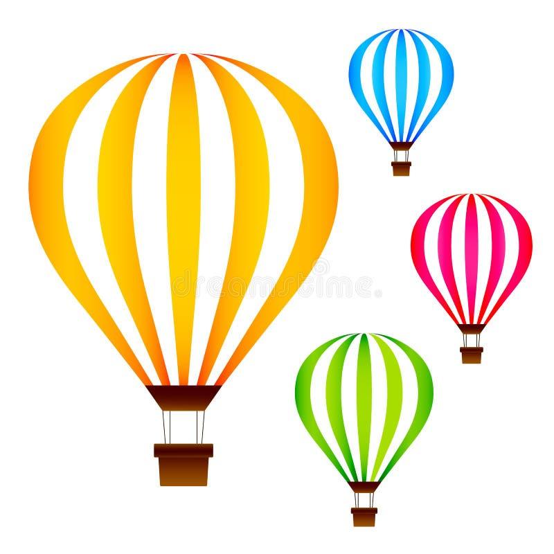 Los globos coloridos del aire caliente fijaron aislado en el fondo blanco libre illustration