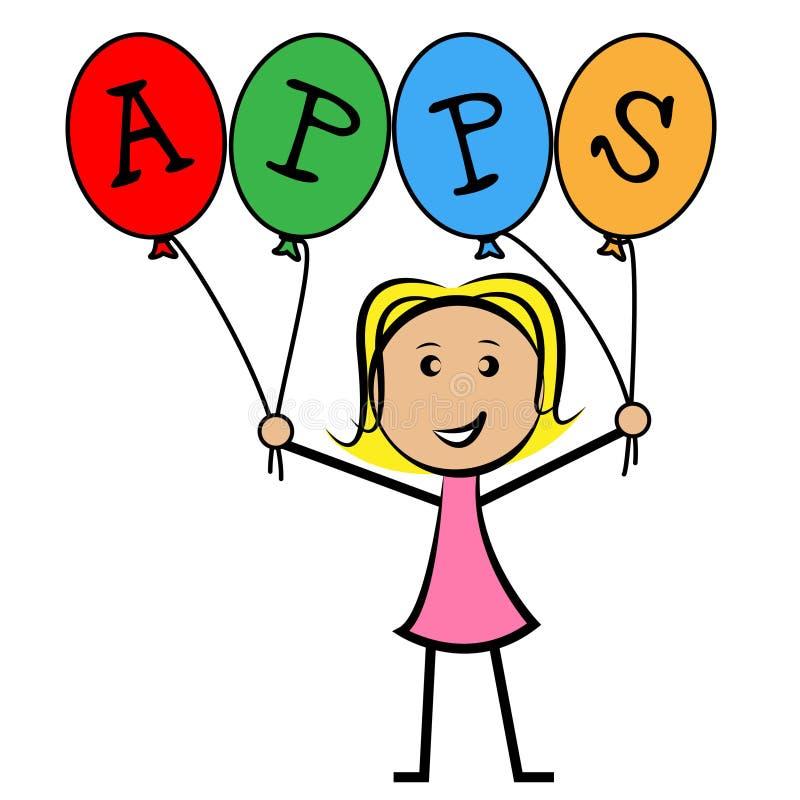 Los globos de Apps representan el software de aplicación y a niños stock de ilustración