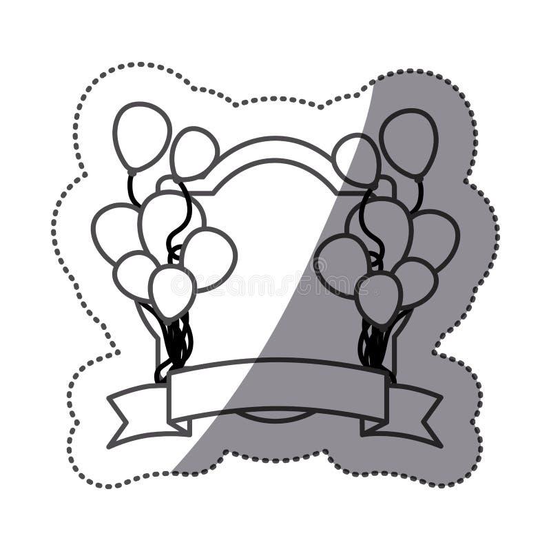 los globos de la silueta de la etiqueta engomada van de fiesta con el marco heráldico y la cinta decorativa stock de ilustración