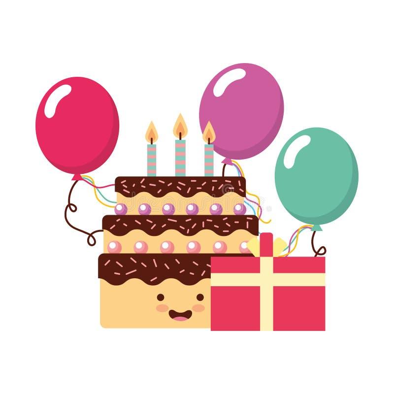 Los globos del regalo de la torta del kawaii del cumpleaños van de fiesta ilustración del vector