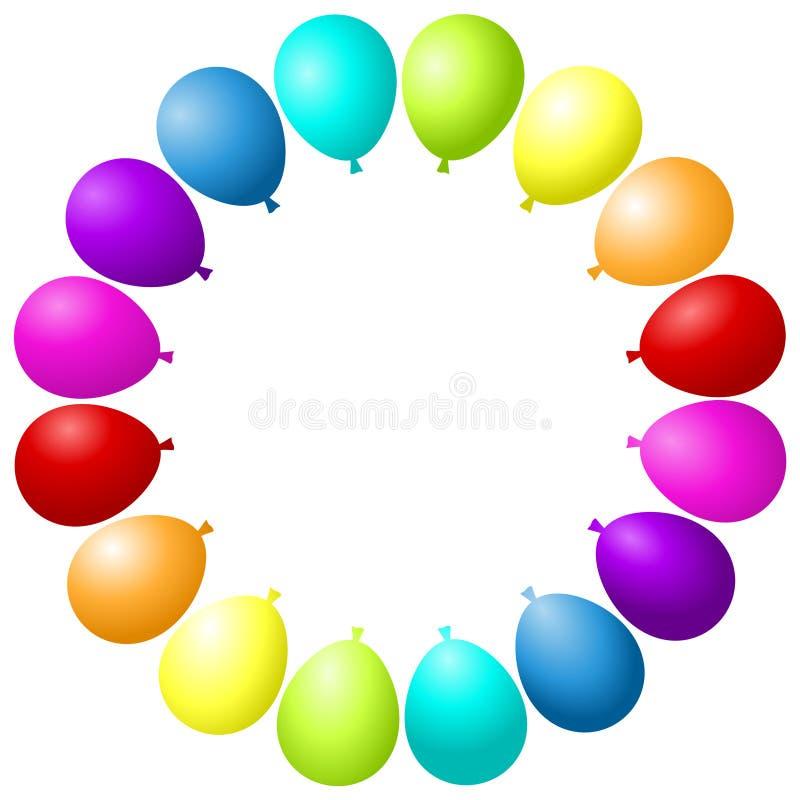 Los globos enmarcan el arco iris colorido del partido ilustración del vector