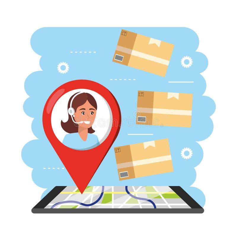 Los gps de Smartphone trazan al servicio de entrega y al agente del centro de atención telefónica de la mujer stock de ilustración