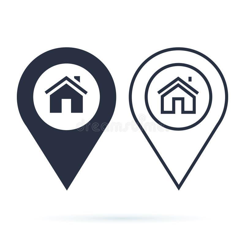 Los gps del hogar trazan el indicador, perno de la flecha del icono del perno del mapa, ubicación del compás stock de ilustración