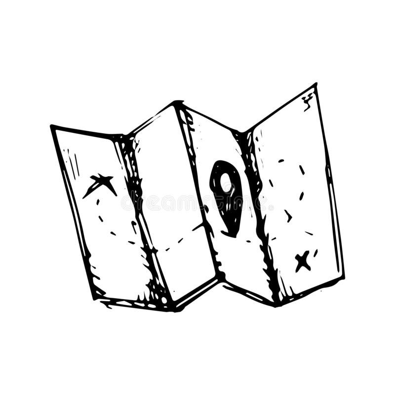 Los gps exhaustos del mapa de la mano garabatean Icono del estilo del bosquejo Elemento de la decoración Aislado en el fondo blan libre illustration