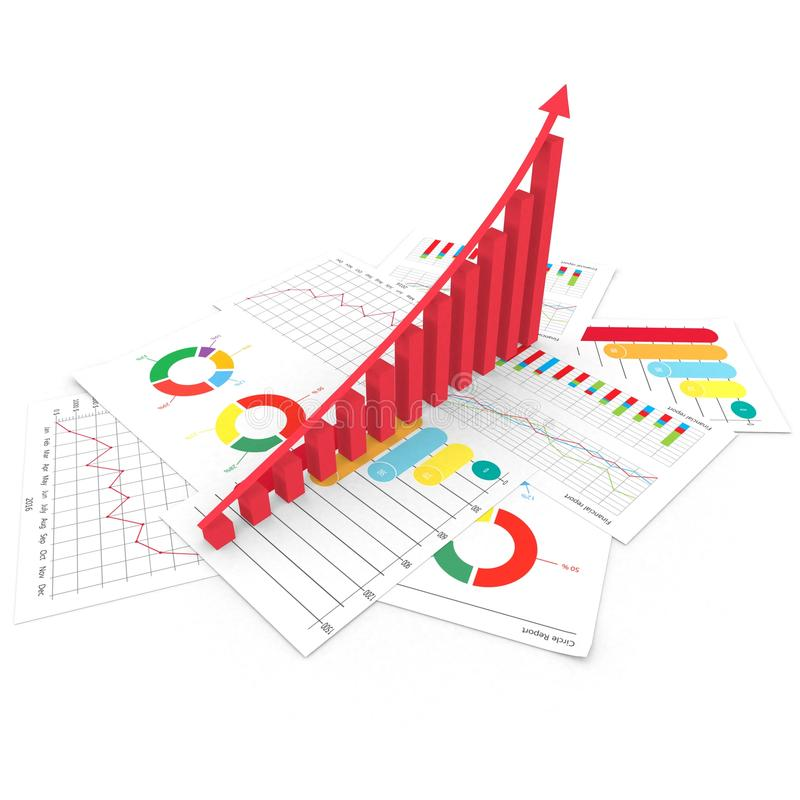 Los gráficos de la acción del negocio del análisis financiero invierten el ejemplo del mercado 3d ilustración del vector